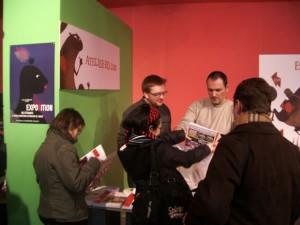 Lionel et Thierry au stand de l'AtelierBD.Com