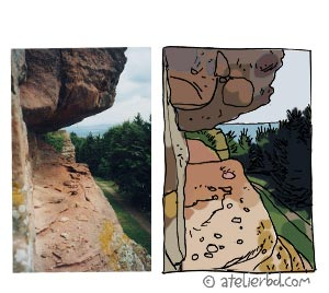 Des rochers, la nature, un paysage